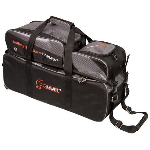 Triple Tote With Wheels, Removable Pouch, Premium Deluxe, Black/Carbon